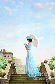Edwardian Woman In The Grounds Of A Stately Home by Lee Avison