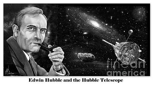 Edwin Hubble and Telescope by Murphy Elliott