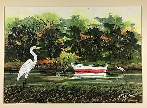 Egrets and Dingy by Raymond Edmonds