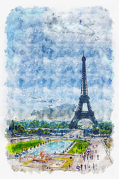 Eiffel Tower in the Distance by Darin Williams