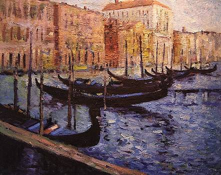 Eight gondolas in Venice Italy by R W Goetting