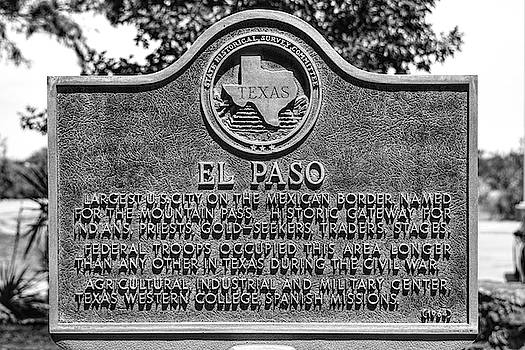 El Paso Historic Plaque Black and White by Chance Kafka