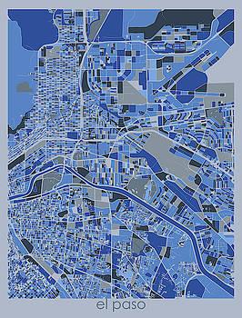 El Paso Map Retro 5 by Bekim M