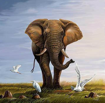 Elephant and Cattle Egrets by Anthony Mwangi