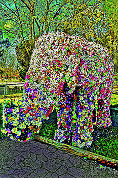 Elephant. Flowers. by Andy Za