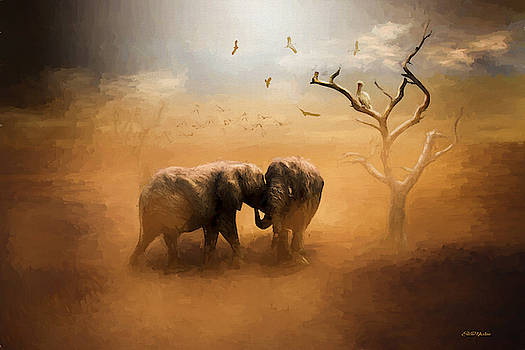 Elephants at Sunset 072 - Painting by Ericamaxine Price