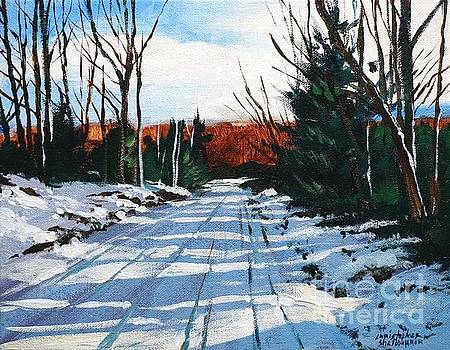 Elk County Country Road in painting by Christopher Shellhammer