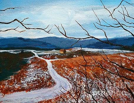 Elk County winter hillside in painting by Christopher Shellhammer