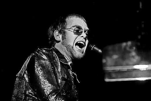 ELTON JOHN AT PIANO c. 1975 by Daniel Hagerman