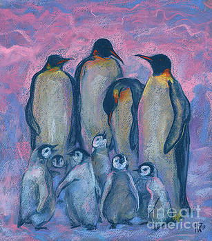 Emperor Penguins with Baby Chicks, Antarctic Winter, Pink and Blue by Julia Khoroshikh