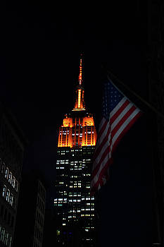 Empire State Building American Flag by Crystal Wightman