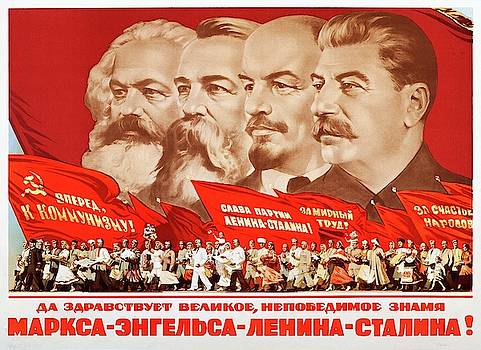 Marx, Engels, Lenin and Stalin, 1953 Propaganda poster by A Kossov