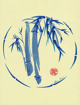 Enso Blu - Enso Sumie Bamboo Brush Painting by Rebecca Rees