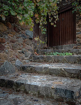 Entrance of an abandoned house with closed wooden doors and ston by Michalakis Ppalis