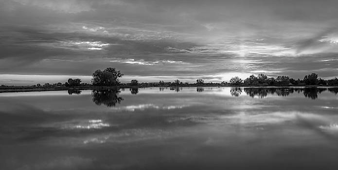 Erie Reservoir Sunrise In Black And White by Michael Putthoff