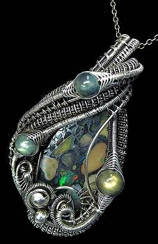 Ethiopian Opal Mosaic Wire-Wrapped Pendant in Antiqued Sterling Silver with Labradorite by Heather Jordan
