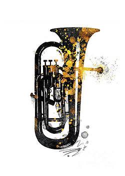 Justyna Jaszke JBJart - Euphonium music art gold and black