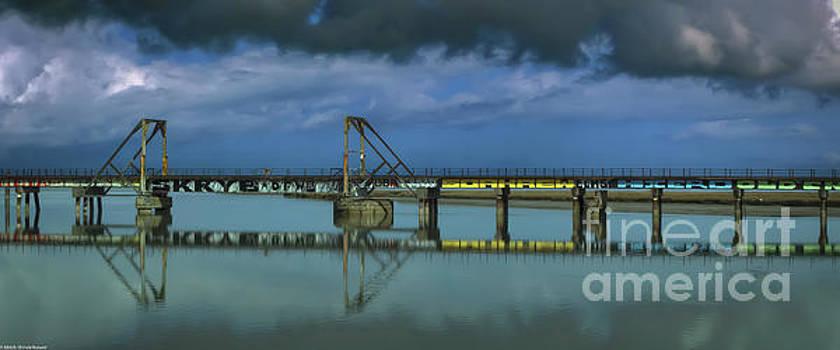 Eureka Slough Bridge Panorama by Mitch Shindelbower