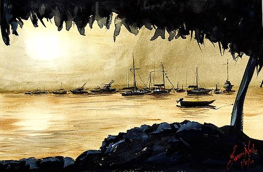 Evening, Deshaies Harbor, Guadaloupe by James Nyika