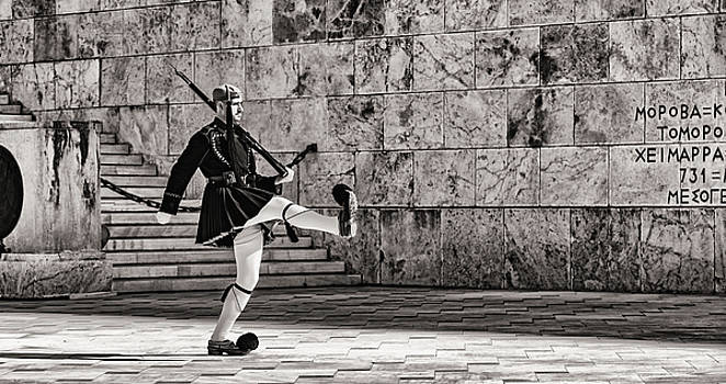 Evzone Marching at Unknown Soldier Memorial Athens by Lenochka Blonsky