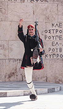 Evzone Marching during Changing of the Guard outside Parliament in Athens by Lenochka Blonsky