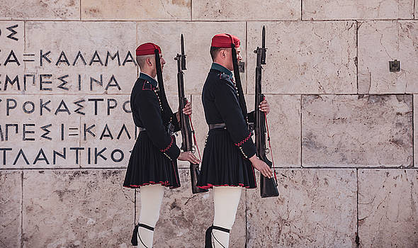 Evzones Changing of the Guard outside Parliament in Athens by Lenochka Blonsky