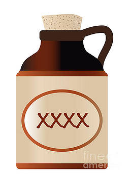 Extra Strong xxx Beer Stone Bottle With Cork And Logo by Bigalbaloo Stock