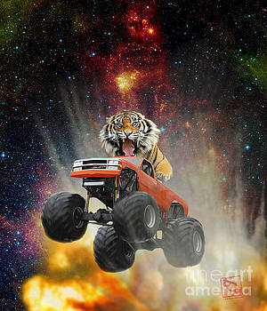 Erik Paul - Extreme Pissed Off Tiger Driving a Monster Truck Jumping Over an Explosion With Galaxy