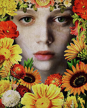 Jan Keteleer - Face Of A Girl Surrounded By Flowers