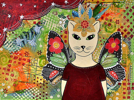 Fairy Cat in Maroon Dress by Cat Whipple