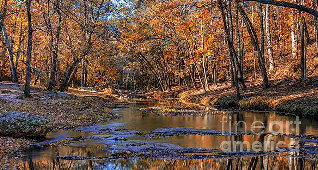 Fall colors on Broad River by Bernd Laeschke