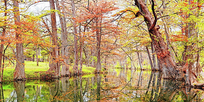 Fall Panorama of Blue Hole Regional Park in Wimberley Hays County Texas Hill Country by Silvio Ligutti