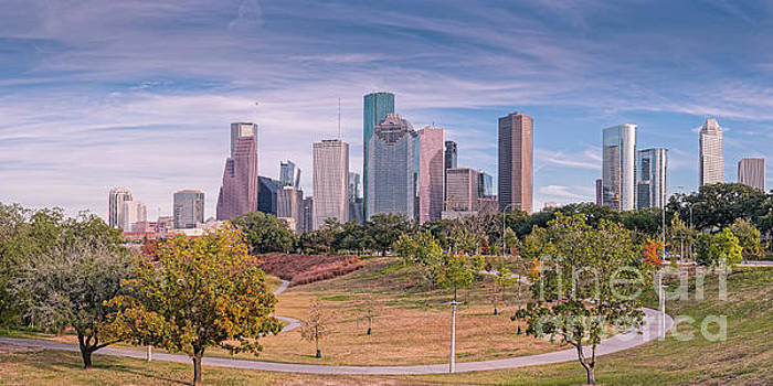 Fall Panorama of Downtown Houston Skyline from Eleanor Tinsley Park - Allen Parkway Houston Texas by Silvio Ligutti