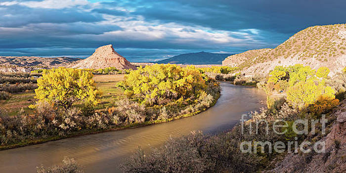 Fall Panorama of Rio Chama Valley and Changing Cottonwoods - Abiquiu Northern New Mexico  by Silvio Ligutti
