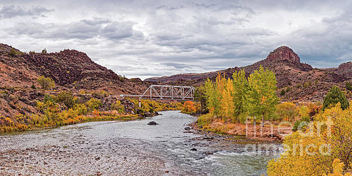 Fall Panorama of Rio Grande del Norte at Orilla Verde and Taos Canyon - New Mexico Desert Southwest by Silvio Ligutti