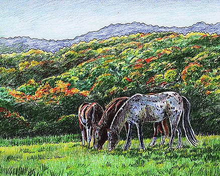Fall Ranch Grazing Horses  by Irina Sztukowski