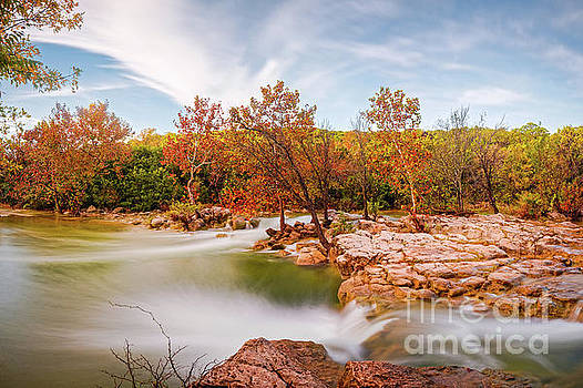 Fall Scene at Barton Creek Twin Falls - Austin Texas Hill Country by Silvio Ligutti