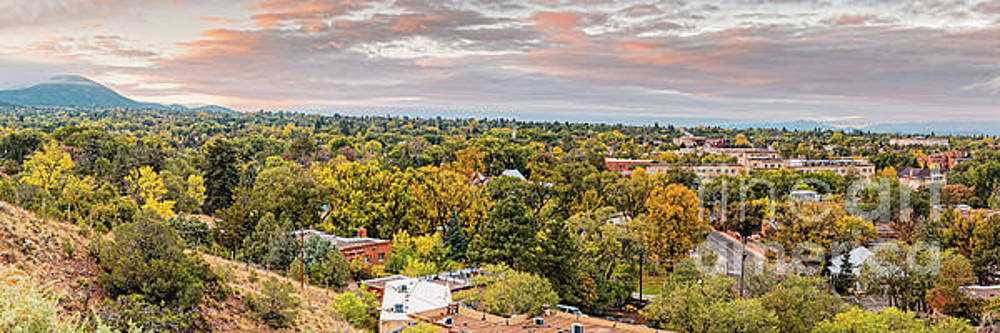 Fall Sunrise Panorama of Santa Fe the City Different - New Mexico Land of Enchantment  by Silvio Ligutti