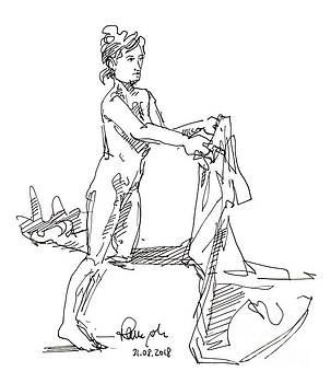 Frank Ramspott - Female Figure Drawing Holding Cloth Fountain Pen Ink