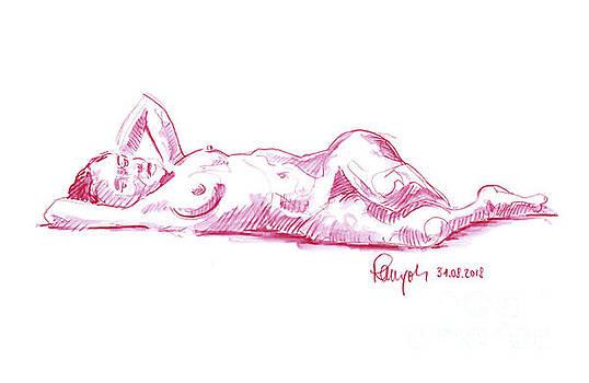 Frank Ramspott - Female Figure Drawing Laying Pose Watercolor Pencil Magenta