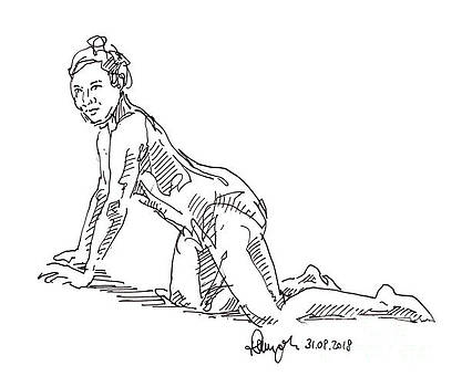 Frank Ramspott - Female Figure Drawing On Her Knees Pose Fountain Pen Ink