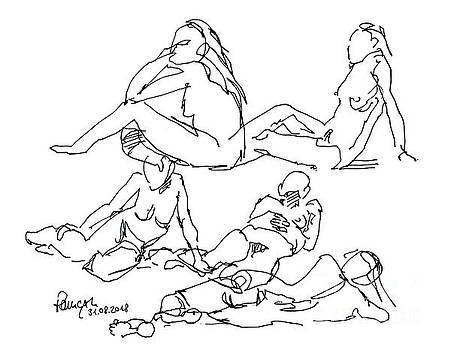 Frank Ramspott - Female Figure Drawing Short Different Poses Fountain Pen Ink
