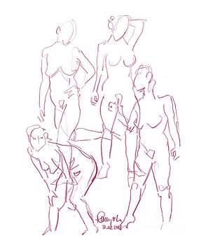 Frank Ramspott - Female Figure Drawing Short Poses Colored Pencil Magenta