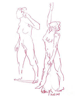 Frank Ramspott - Female Figure Drawing Short Standing Poses Colored Pencil Magent