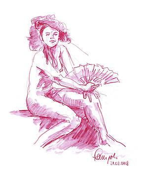 Frank Ramspott - Female Figure Drawing Sitting Pose Fan Watercolor Pencil Magenta