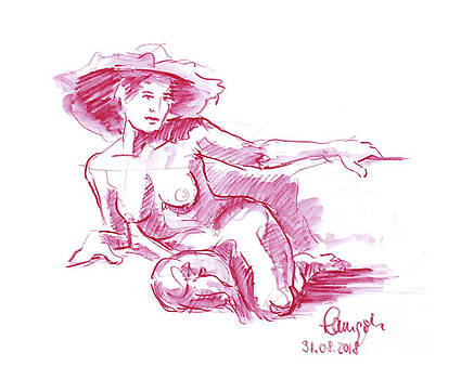 Frank Ramspott - Female Figure Drawing Sitting Pose Hat Watercolor Pencil Magenta