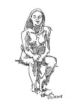 Frank Ramspott - Female Figure Drawing Sitting Pose Mirror Fountain Pen Ink