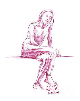 Frank Ramspott - Female Figure Drawing Sitting Pose Watercolor Pencil Magenta