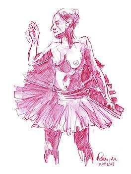 Frank Ramspott - Female Figure Drawing Standing Pose Ballerina Watercolor Pencil