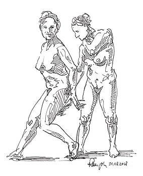 Frank Ramspott - Female Figure Drawing Standing Poses Fountain Pen Ink